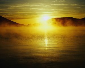 Sun Rising over Lake Tochigi-ken, Japan